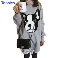 Фотография Plus Size Long Sleeved Cashmere Sweatshirt Loose Hoodies Printed Puppy Kawaii Streetwear Hoodie Pullover Oversized Tracksuits