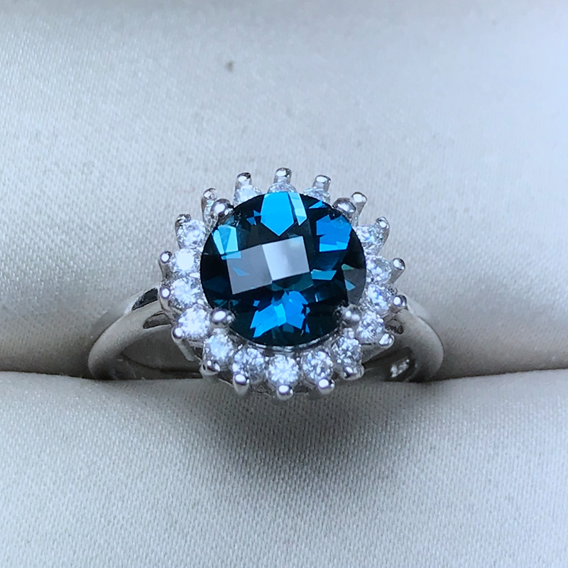 Natural Blue Topaz Rings for Women Round 925 Sterling Silver Fine Jewelry 8 8mm Gemstone with