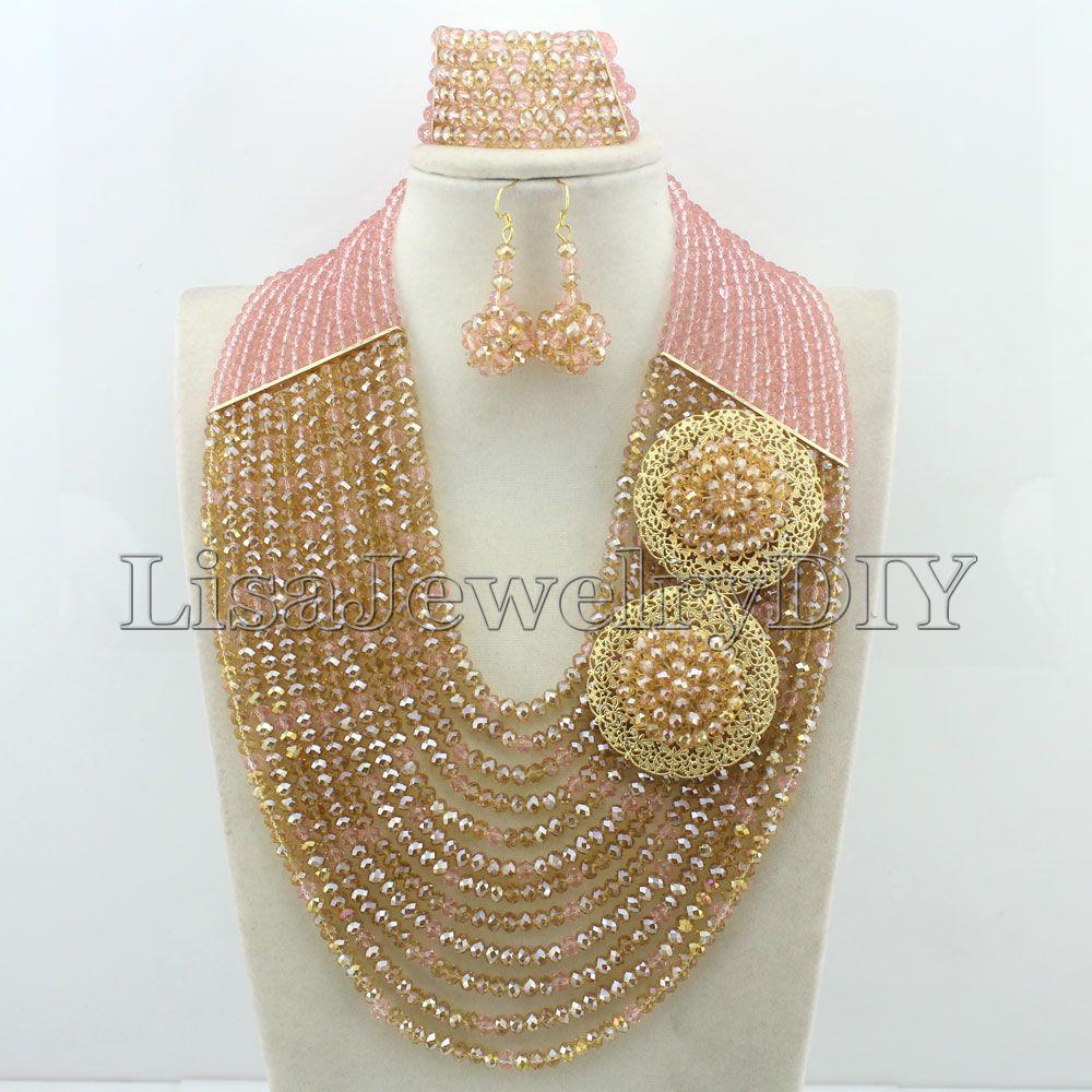 Nigérian mariage perles africaines précipitées classique femmes cristal bijoux ensembles nouveau arrivé Nigeria ensemble collier afrique perles HD5034-in Parures de bijoux from Bijoux et Accessoires    1