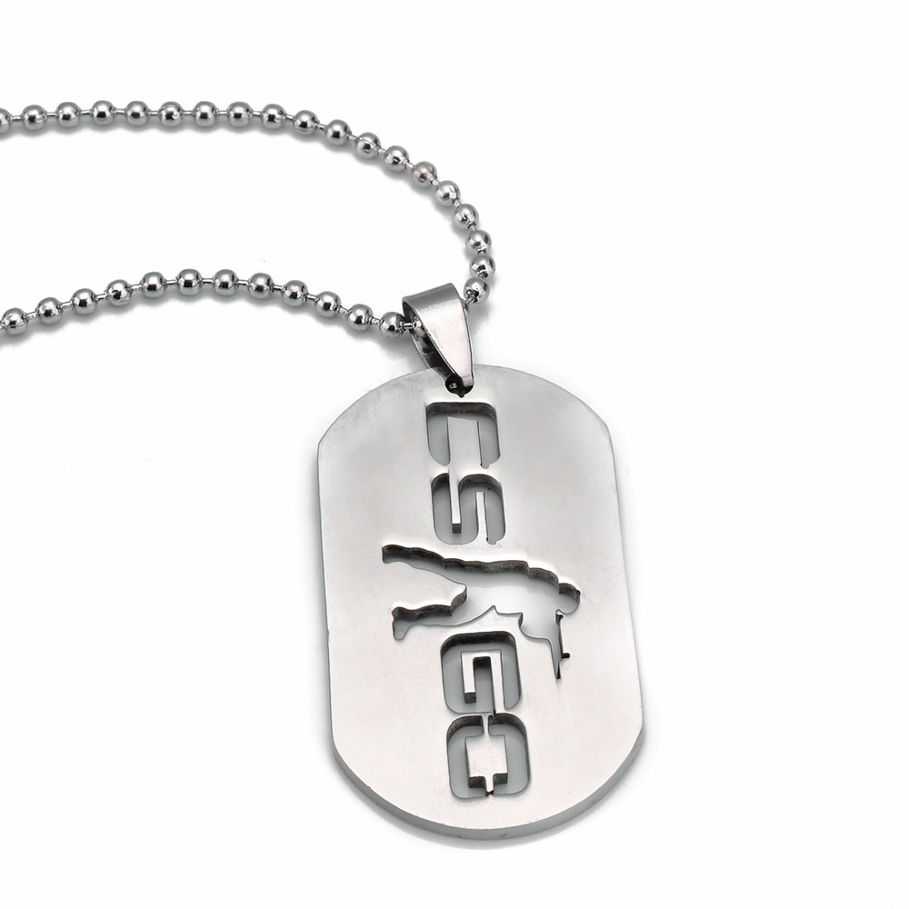 QY Hot Games CS GO Stainless Steel Link Necklace For Men CSGO Anime Neckless Male Collier Homme Best Friends Statement Bijoux