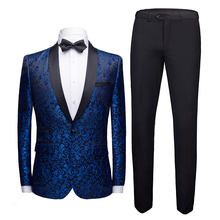 Suit 2-piece suit (suit + pants) men's flower west decoration body men's wedding groom dress men's slim business casual suits