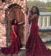 Pink 3D Flowers Mermaid Prom Dresses 2019 Sexy Maroon African Evening Formal Party Gown Black Girl Backless Pageant Dress Custom