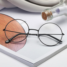 Classic Round Glasses Frame Women Men Vintage Metal Flat Mirror Decoration Eyeglasses gafas de sol