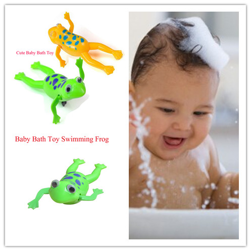 2pcs Hot cute Baby Kids Bath Toy Clockwork Wind Up Plastic Swimming Frog Battery Operated Pool Bath for Kids Baby new