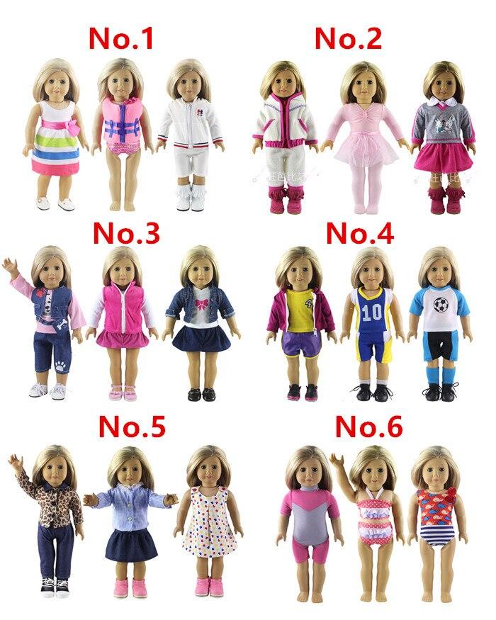 3 Unidades muñeca para 18 pulgadas American Girl Handmade Casual Waer ropa 2daed6242a4eb