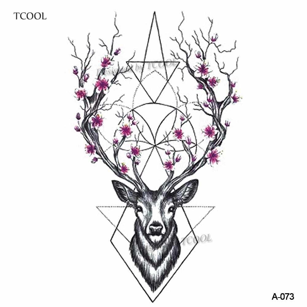 HXMAN Deer Women Temporary Tattoo Sticker Tattoos For Men Fashion Body Art Kids Children Hand Fake Tatoo 10.5X6cm A-073
