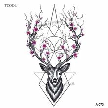 HXMAN Deer Women Temporary Tattoo Sticker Tattoos for Men Fashion Body Art Kids Children Hand Fake Tatoo 10.5X6cm A-073(China)