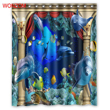WONZOM Polyester Fabric Shower Curtains Bathroom Waterproof Accessories With 12 Hooks For Decor Modern 3D Seascape Bath Curtain