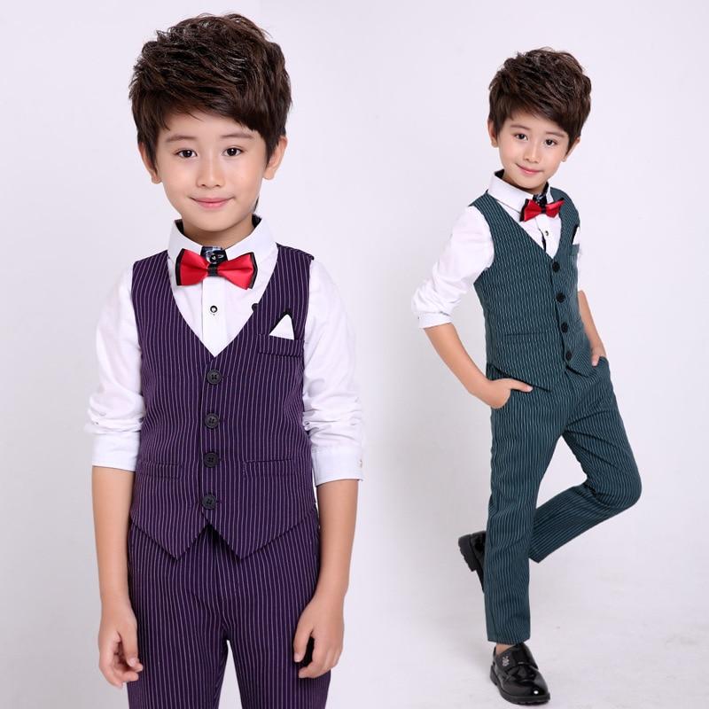 Flower Boys Formal Suits Vest Pants 2pcs School Kids Weeding Birthday Dress Children's Day Chorus Show Piano Performance Costume 1