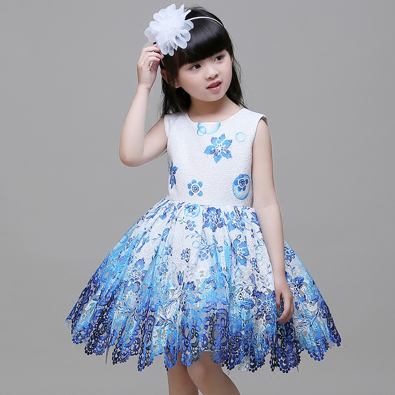 girls pageant dress for wedding birthday party new flower girl dresses A-line sleeveless knee-length printed princess dress