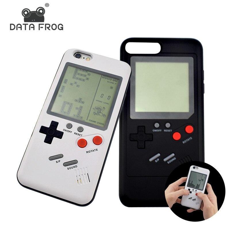 Dati Rana Nostalgia Tetris Console di Gioco Portatili Mini Console da gioco portatili Built-In 8 Giochi Cassa Del Telefono Per Il Iphone X 6 s 7 8 più Regalo