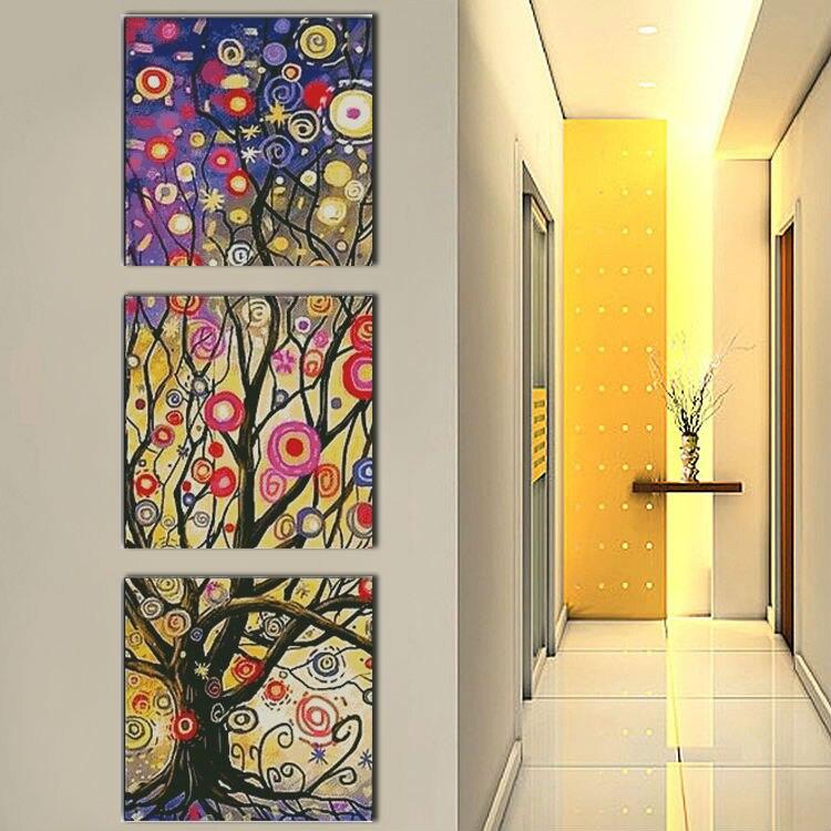 Сказочное дерево (Триптих) мульти картины напечатаны на ткани DMC 14CT 11CT вышивка крестиком наборы для рукоделия домашний декор