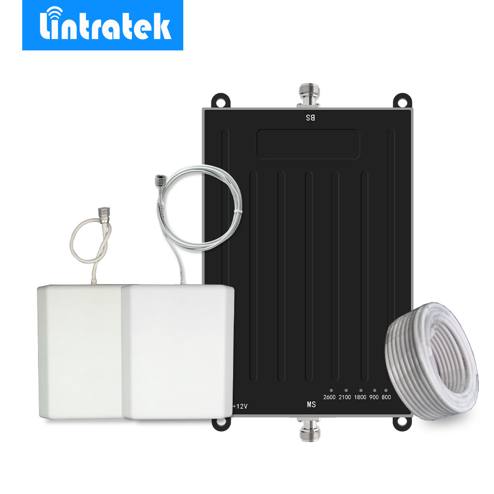 Lintratek 2G 3G 4G LTE Signal Booster B1/B3/B7/B8/B20 Signal Amplifier 900/1800/2100/800/2600MHz 5 Band Mobile Phone Repeater @
