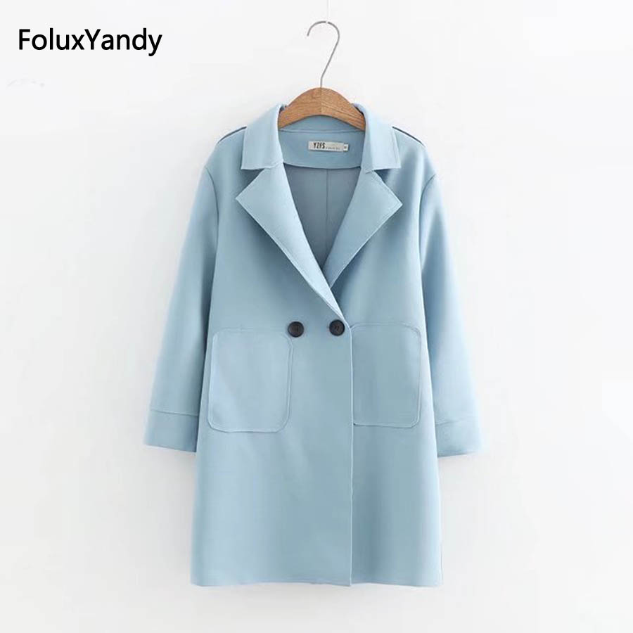 Autumn   Trench   Women Plus Size 3 4 XL Casual Turn-down Collar Loose Long   Trench   Coat Outerwear KKFY55