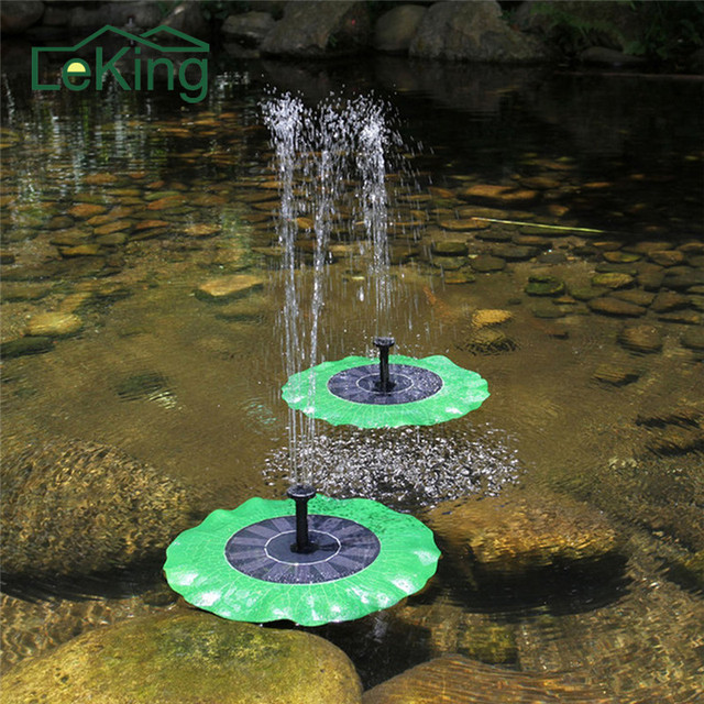 Solar Power Water Fountain Garden Fountain Floating Green Lotus Leaf Shaped  Artificial Outdoor Fountain For Multi