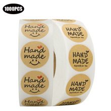 1000PCS 1 inch Round Natural Kraft paper handmade stickers with love for wedding decoration gifts envelope packging seal labels