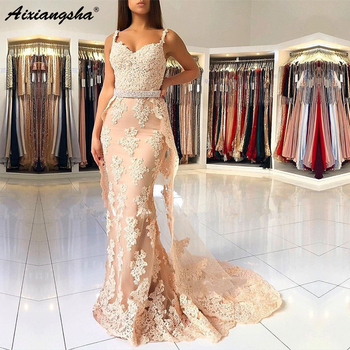 Champagne New Prom Dresses Mermaid Beads Sash Sweetheart Lace Appliques Tulle Long Gown Evening Robe De Soiree