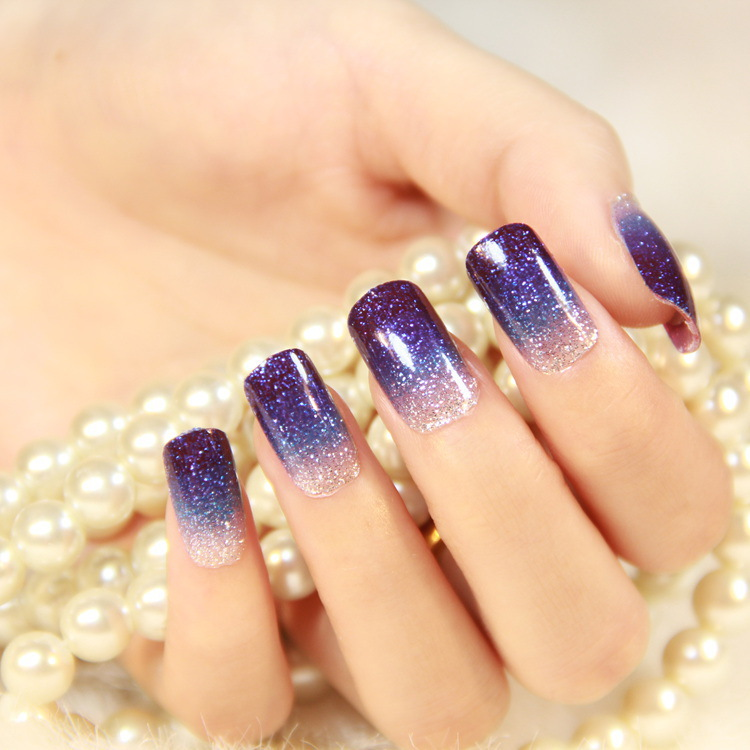 Nice Glitter Gradient Nails Tutorial Illustration - Nail Art Ideas ...