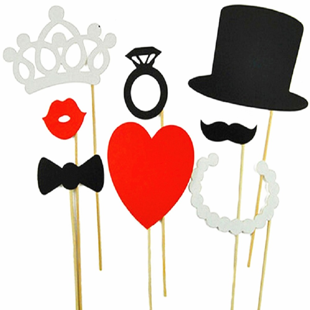 Photo Booth Props 8pcs Wedding Party Decoration Lips Moustache Bow Tie Wedding Birthday Christmas New Year