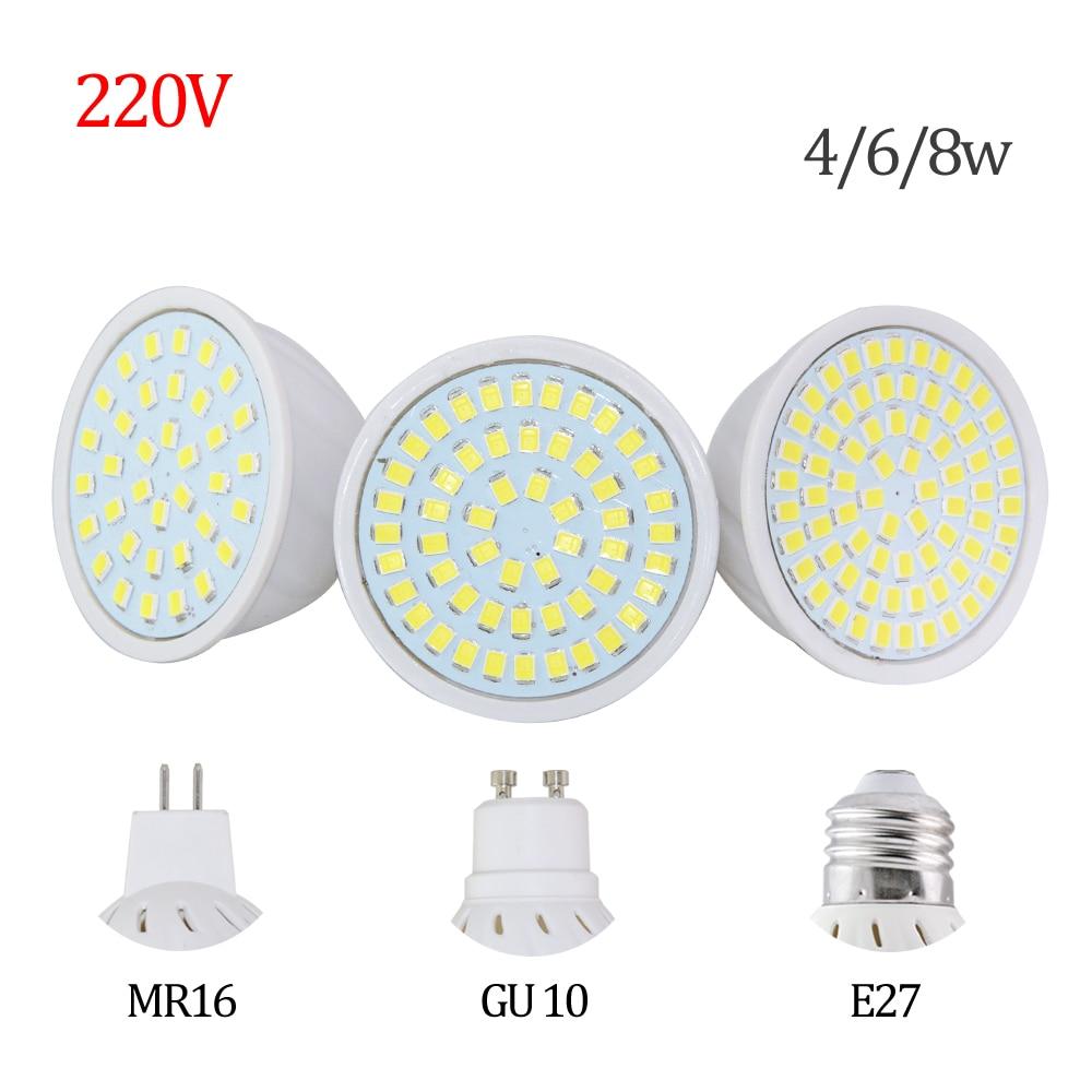 Цена завода светодиодные GU10 E27 MR16 LED лампа 8 Вт 4 Вт 6 Вт AC 220 В 3528smd 36 светодиоды 54 светодиодов 72leds белый/теплый белый Светодиодное освещение