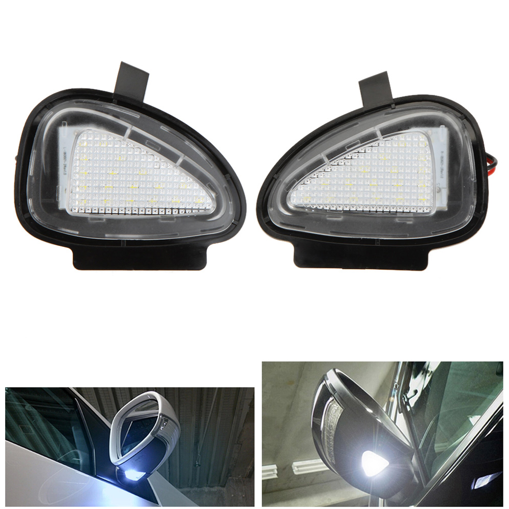 2x 18 3528 SMD White LED Under Side Mirror Puddle Lamps For VW CC Golf 6