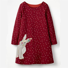 цена на Jumping meters Appliques Bunny Toddler dresses girls clothing autumn baby dresses long sleeve cotton polk dot Girls kids frocks