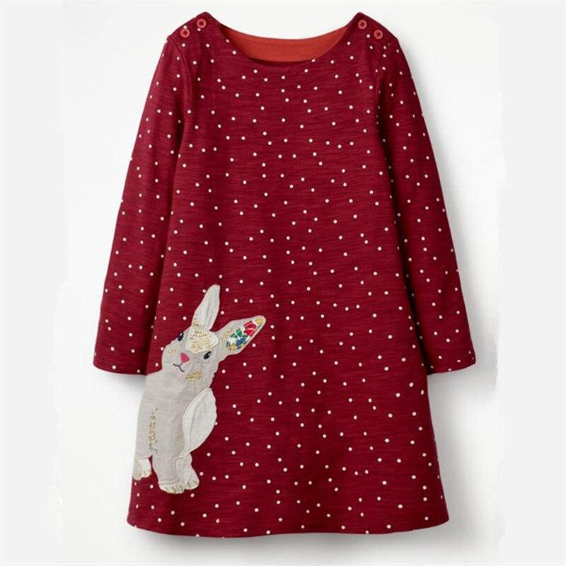 Springen meter Appliques Bunny Kleinkind kleider mädchen kleidung herbst baby kleider langarm baumwolle polk dot 2018 kinder kleider