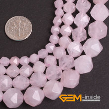 Faceted Natural Pink Rose Quartzs Beads Natural Stone Beads DIY Loose Beads For Jewelry Making Strand 15 Inches Wholesale !