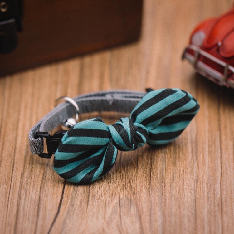 Accessoires pour Chien, chiot et chat : colliers avec nœud rayures