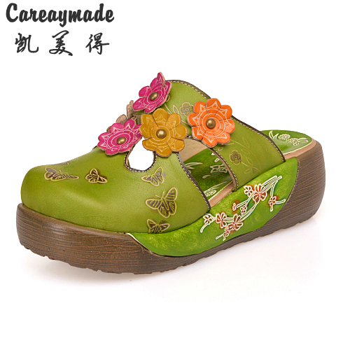 Careaymade-Folk style Head layer cowhide pure handmade Carved shoes, the retro art mori girl shoes,Women's casual Sandals151-6 monsters of folk monsters of folk monsters of folk