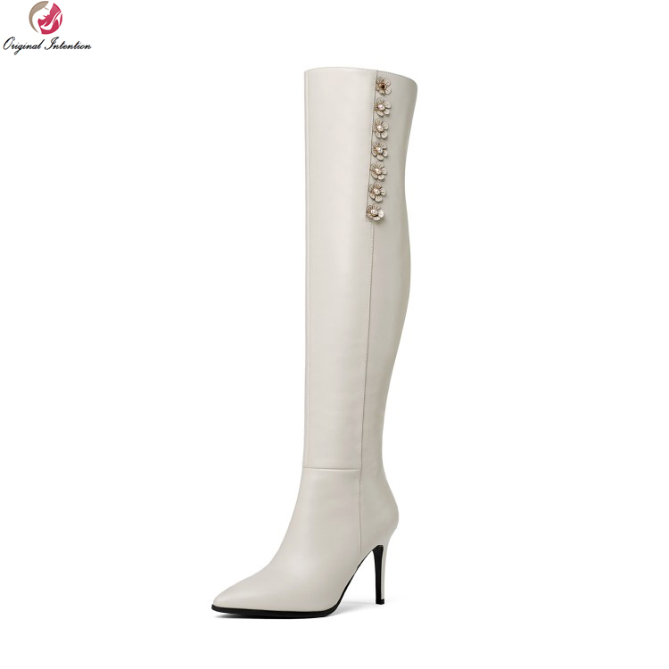 Original Intention Elegant Women Knee High Boots Cow Leather Pointed Toe Thin Heels Boots Black Beige Shoes Woman US Size 4-8.5 original intention elegant women over the knee boots fur cow leather pointed toe thin heels boots shoes woman us size 4 8 5