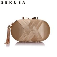 SEKUSA Bow Metal Women Day Clutches Tassel Luxurious Fashion Lady Evening Bags Small Party Wedding Bridal Chain Shoulder Handbag все цены