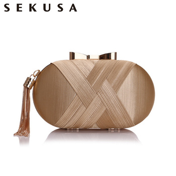 SEKUSA Bow Metal Women Day Clutches Tassel Luxurious Fashion Lady Evening Bags Small Party Wedding Bridal Chain Shoulder Handbag xiyuan brand fashion women silver messenger bags vintage metal gold day clutches small purse evening bags for wedding party bag
