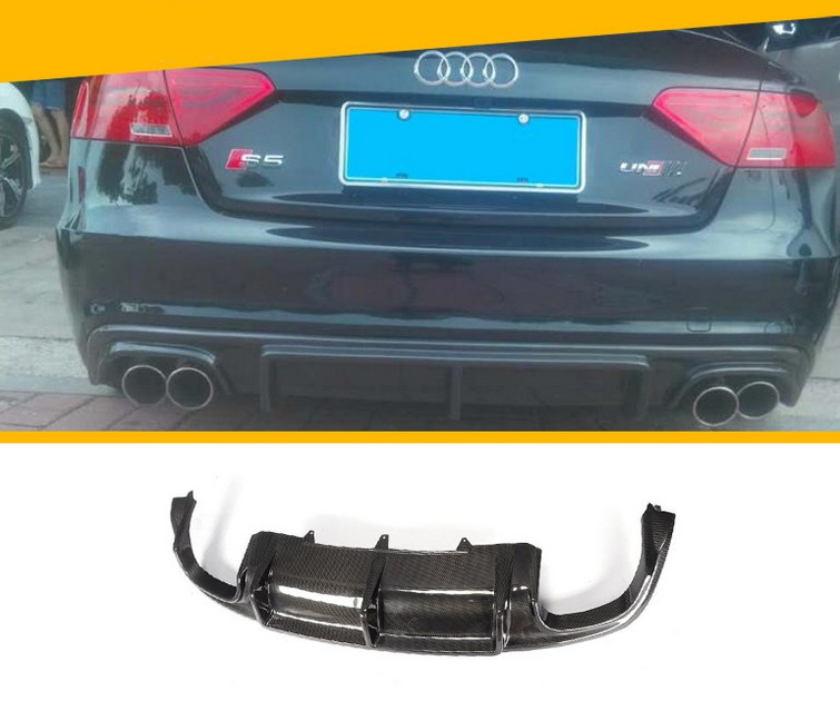 For Audi A5 S5 Coupe 2008-2016 Carbon Fiber Rear Lip Spoiler High Quality Car Bumper Diffuser Auto Accessories