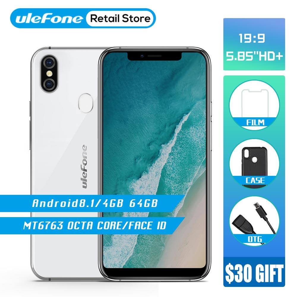 Ulefone X Android 8,1 смартфон 5,85 HD + MT6763 Octa Core 4 ГБ 64 ГБ уход за кожей лица ID 16MP двойной сзади камера беспроводной зарядки мобильного телефона