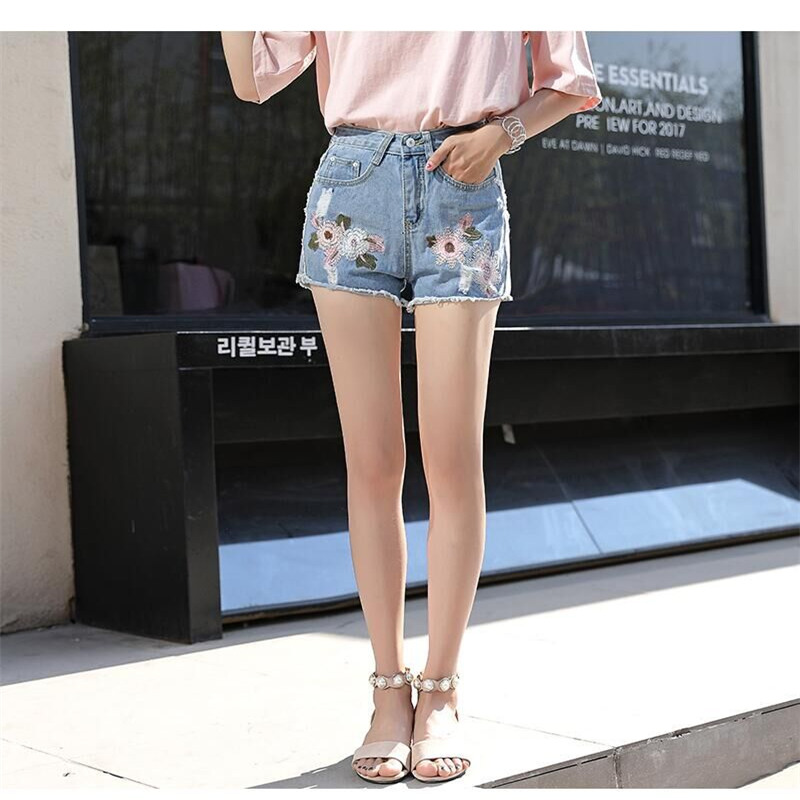 2019 Spring Harajuku Mid Waist Wind Female Blue Denim Women Shorts Worn Zipper Loose Burr Hole Jeans Shorts