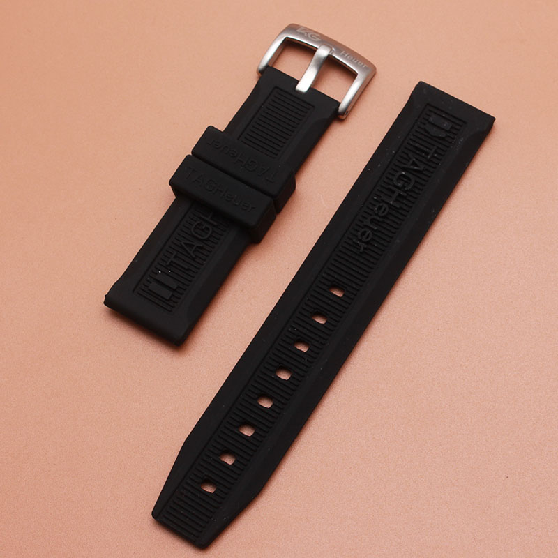 Watch accessories rubber strap silicone bands black watchbands strap with silver pin buckle 20mm for brand sport watches men new 20mm silicone rubber watchbands men women sport waterproof watch band strap black red blue walnut metal buckle accessories