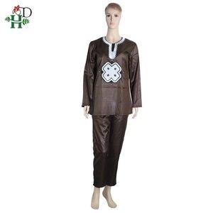 Image 4 - H & D dashiki conjunto para Padre hijo, ropa africana para mujer, camisa bordada, pantalón, trajes de 2 piezas, 2020