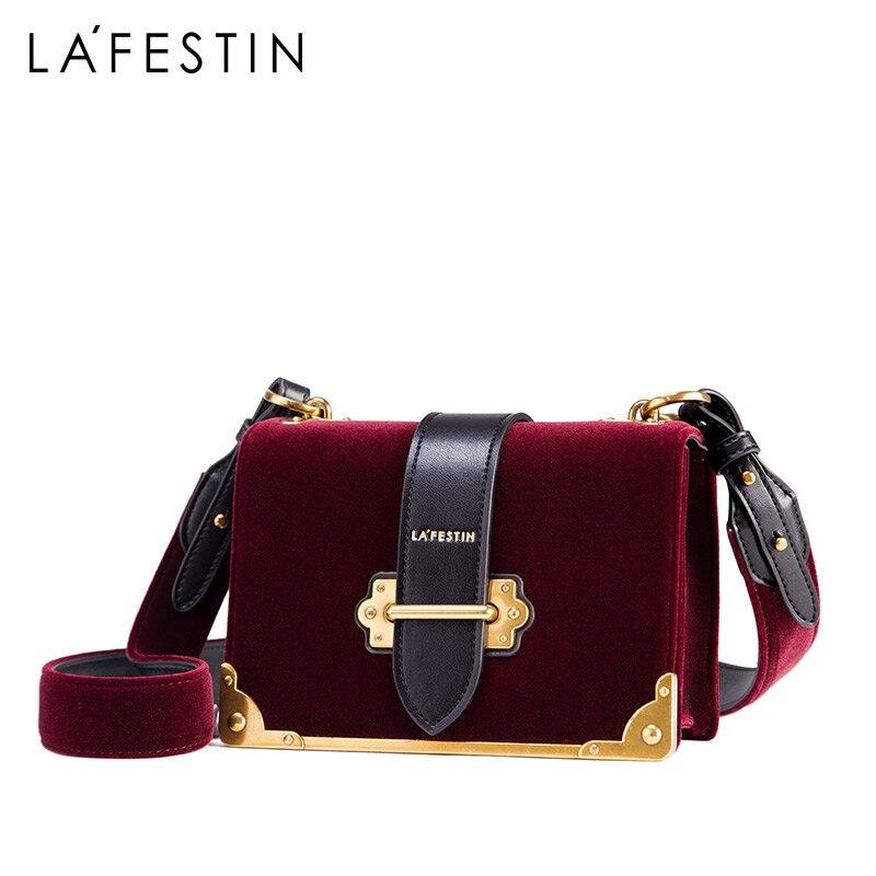 LAFESTIN Femmes sac à bandoulière sac à main en velours Marques 2018 Conception De Luxe Célèbre Designer sac à bandoulière Feminina qualité supérieure - 3