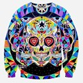 Newest  Autumn and Winter men/women Flower Skull Head Printed 3d pullover hoodies fashion 3d sweatshirt tops