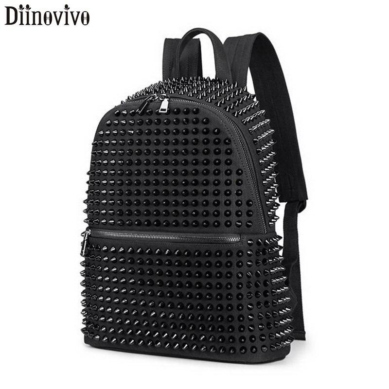 DIINOVIVO Rivet femmes sac à dos cartable grande capacité sacs à dos d'ordinateur portable femme toile Punk école sac à dos adolescent WHDV1198