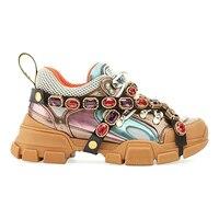 Кроссовки со стразами сникерсы Женская Платформа Толстая подошва Маффин туфли на плоской подошве Стразы увеличивающая рост обувь на толст