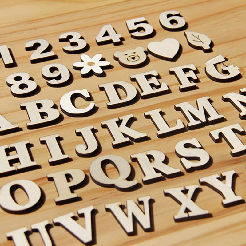 Mixed A-z Letter 0-9 Number Alphabet Wood Letter Wooden Number Sticker Craft 3d Scrapbooking Decor Self-adhesive Diy