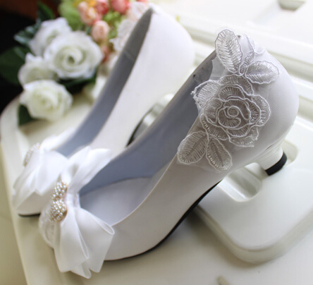 ФОТО 3cm small little heel white  pumps shoes for woman lace flower ankle beading straps womans party dance pumps shoe handmade TG256