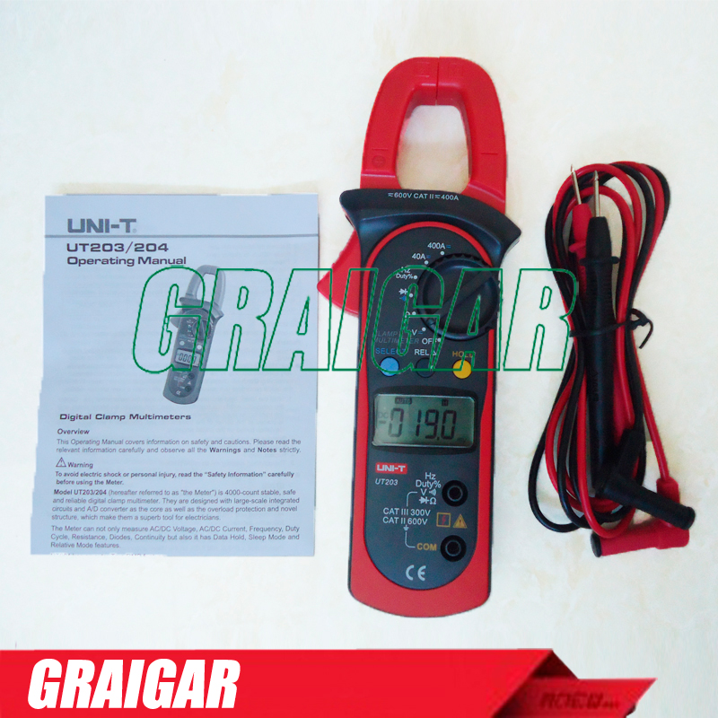 Free Shipping UNI-T UT203 UT 203 Digital Clamp Multimeter Ohm DMM DC AC Current Voltmeter 400A