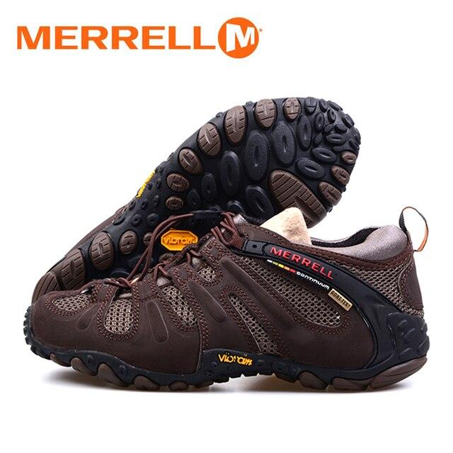 Merrell pria Sapi Kulit Dengan Air Mesh Bernapas Perjalanan Trekking Sepatu  Hiking Sepatu Untuk Anti Slip b3b106cc4b