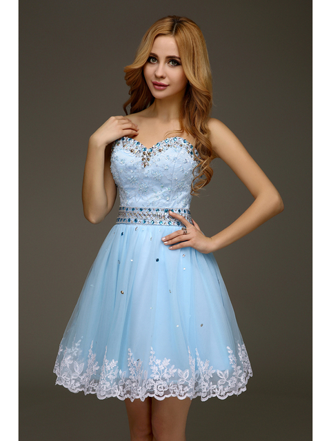 83165a67ba63d US $110.28 |2016 Real Cute Light Blue Sweetheart Appliques Short Juniors  Homecoming Dresses Beaded High School Custom Made Homecoming Gowns-in ...