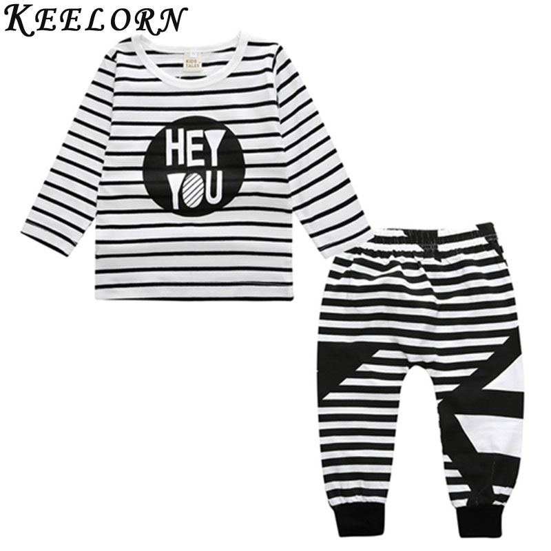 Keelorn 2018 Baby Clothing Sets Striped Long Sleeve Shirts+Long Pants Cotton Letter Prints Newborn Girls Clothing Suits ...