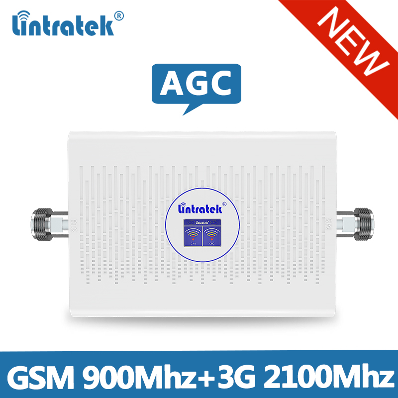 Lintretek 2019 NEW GSM 2G 3G Repeater 900 2100 Signal Booster GSM 900 Ampli 3G 2G AGC Repeater Dual Band 70dB Booster 900 2100