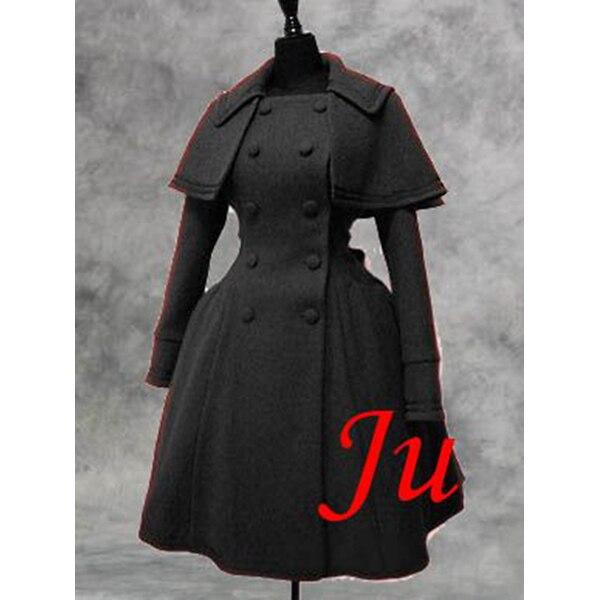 Gothique Lolita Punk laine manteau avec Cape robe Cosplay Costume sur mesure [CK529]